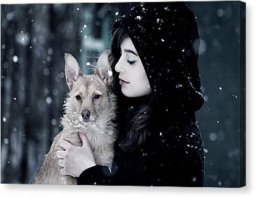 Touching Canvas Print - Snow Walk by Cambion Art