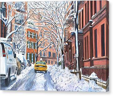 Yellow Building Canvas Print - Snow West Village New York City by Anthony Butera