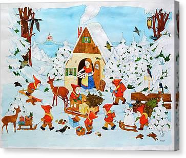 Snow White And The Seven Dwarfs Canvas Print by Christian Kaempf