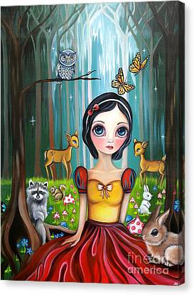 Snow White In The Enchanted Forest Canvas Print by Jaz Higgins