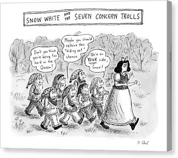 Snow White Is Storming Away From A Group Of Seven Canvas Print by Roz Chast