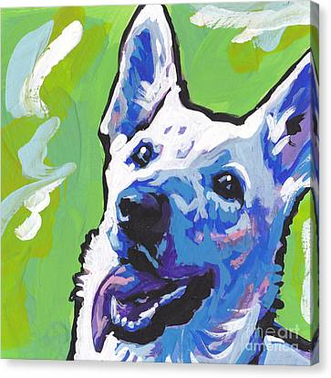 German Shepherd Canvas Print - Snow White by Lea S