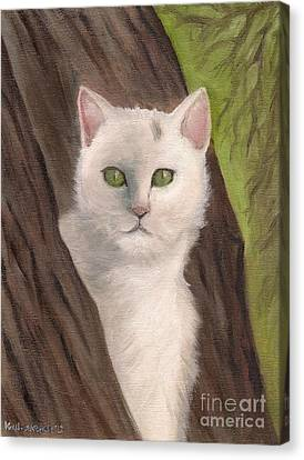 Snow White The Cat Canvas Print by Kostas Koutsoukanidis