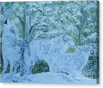 Blues Canvas Print - Snow Wolves by Eloise Schneider