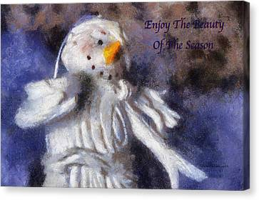 Snow Woman Enjoy The Beauty Photo Art Canvas Print by Thomas Woolworth