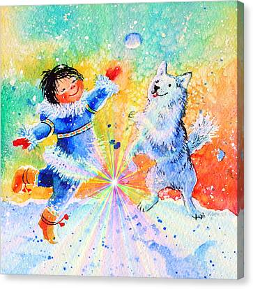Snowball Fun Canvas Print by Hanne Lore Koehler