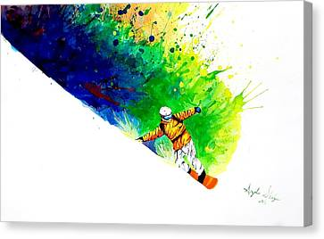 Snowboarding Canvas Print - Snowboarder 1 by Angee Skoubye
