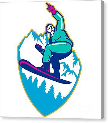 Snowboarder Holding Snowboard Alps Retro Canvas Print