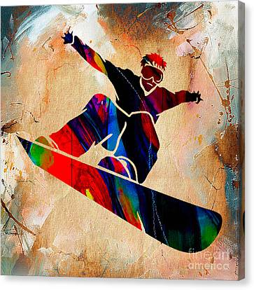 Snowboarder Painting Canvas Print