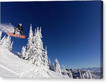Snowboarding Action At Whitefish Canvas Print