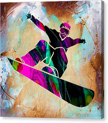 Downhill Canvas Print - Snowboarding Down A Snow Covered Mountain by Marvin Blaine