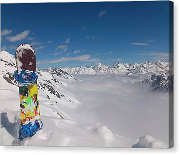 Alpine Canvas Print - Snowboarding In Austria by Pixabay