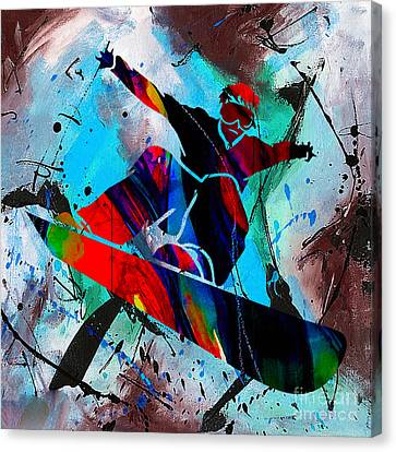 Downhill Canvas Print - Snowboarding Painting by Marvin Blaine