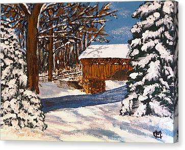 Snowbridge Canvas Print by Cynthia Morgan