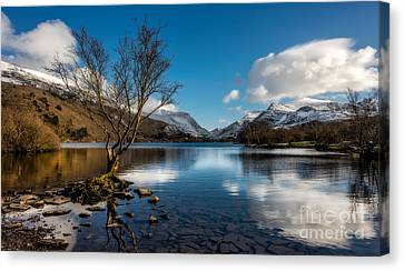 Snowdon And Padarn Lake Canvas Print by Adrian Evans