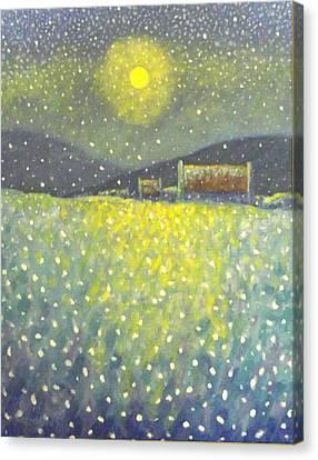 Snowfall County Wicklow  Canvas Print by John  Nolan