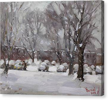 Parking Canvas Print - Snowfall In Royal Park Apartments by Ylli Haruni