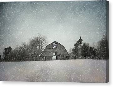 Snowing At The Old Barn Canvas Print by Jai Johnson