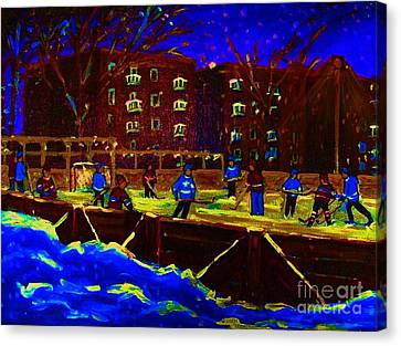 Snowing At The Rink Canvas Print by Carole Spandau