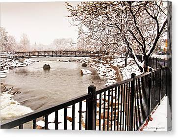 Canvas Print featuring the photograph Snowing On The Truckee by Janis Knight