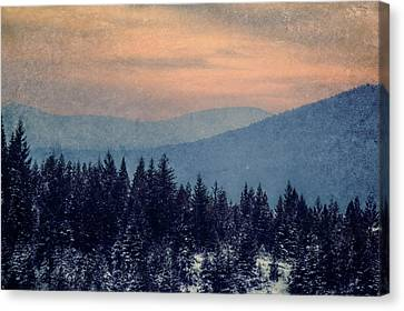 Snowing Sunset Canvas Print by Melanie Lankford Photography