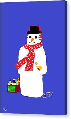 Snowman Canvas Print by Barbara Moignard