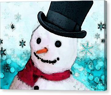 Frosty Canvas Print - Snowman Christmas Art - Frosty by Sharon Cummings