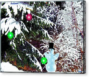 Canvas Print featuring the digital art Snowman by Daniel Janda
