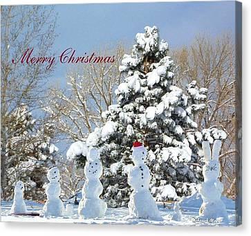 Snowman Family Greeting Card Canvas Print by Deborah Moen