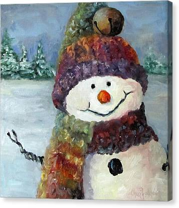 Canvas Print featuring the painting Snowman I - Christmas Series I by Cheri Wollenberg