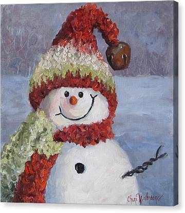 Snowman II - Christmas Series Canvas Print by Cheri Wollenberg