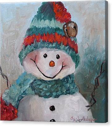 Canvas Print featuring the painting Snowman IIi - Christmas Series by Cheri Wollenberg