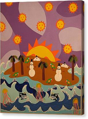 Canvas Print featuring the painting Snowman Is An Island by Erika Chamberlin
