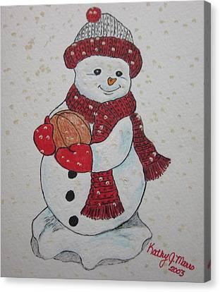 Snowman Playing Basketball Canvas Print by Kathy Marrs Chandler