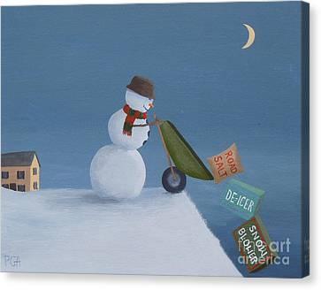 Snowman Survival Strategies Canvas Print
