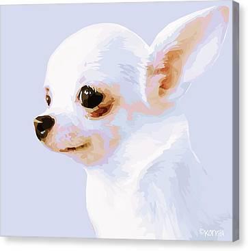 Snowman - White Chihuahua Canvas Print by Rebecca Korpita
