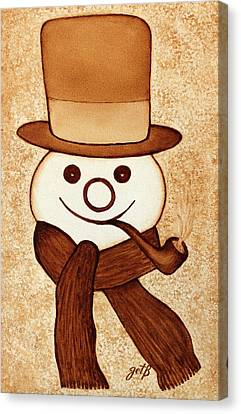 Snowman With Pipe And Topper Original Coffee Painting Canvas Print by Georgeta  Blanaru