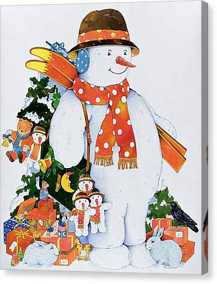 Snowman With Skis Canvas Print by Christian Kaempf