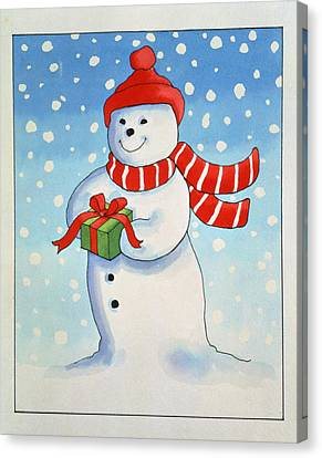 Snowmans Christmas Present Canvas Print by Lavinia Hamer