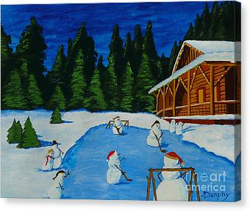 Snowmans Hockey Two Canvas Print by Anthony Dunphy