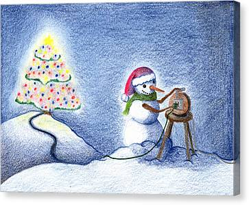Canvas Print featuring the drawing Snowman's X'mas by Keiko Katsuta