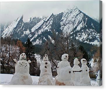 Snowmen Flatirons Canvas Print