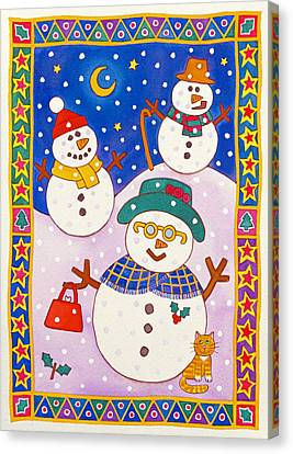 Snowy Night Night Canvas Print - Snowmen In The Snow  by Cathy Baxter