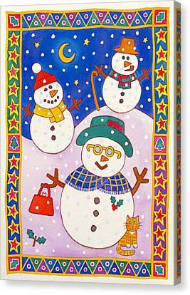 Snowmen In The Snow  Canvas Print