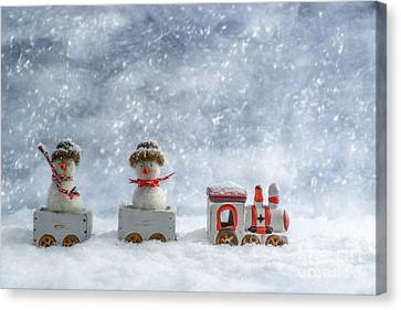 Ceramic Canvas Print - Snowmen In Train by Amanda Elwell