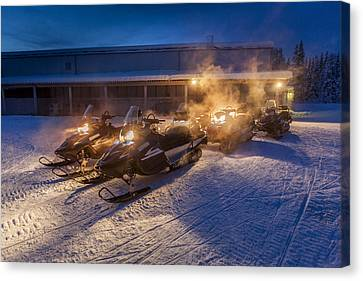 Snowmobiles In The Freezing Cold Canvas Print by Panoramic Images