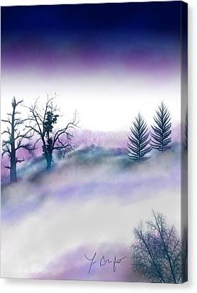 Snowstorm In Catskill Ipad Version Canvas Print by Frank Bright
