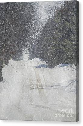 Snowy Alpine Road Canvas Print