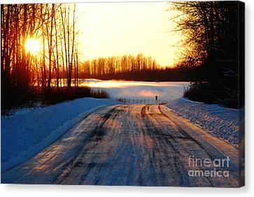 Snowy Anchorage Sunset Canvas Print by Cynthia Lagoudakis
