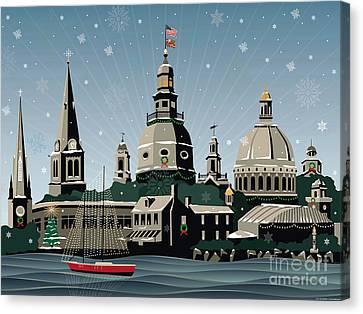 Snowy Annapolis Holiday Canvas Print